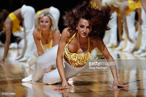 The Denver Nuggets Dancers perform during a break in the action against the Los Angeles Lakers at Pepsi Center on March 2 2016 in Denver Colorado The...