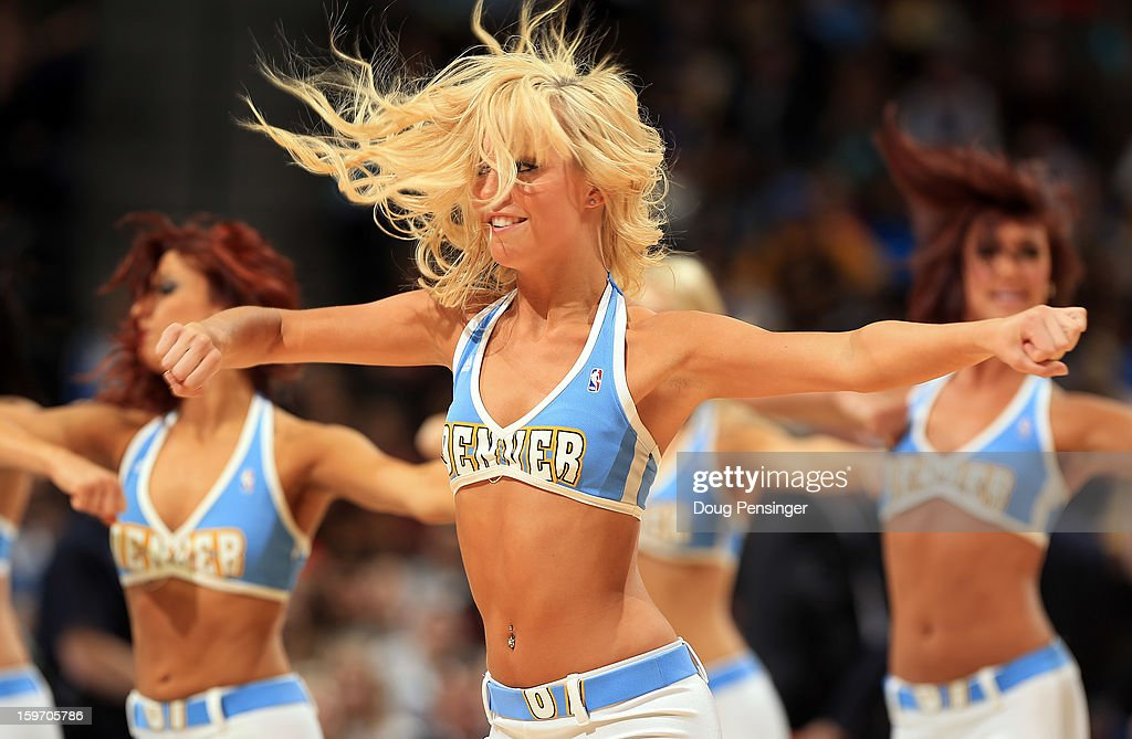 The Denver Nuggets Dancers perform during a time out against the Washington Wizards at the Pepsi Center on January 18, 2013 in Denver, Colorado.