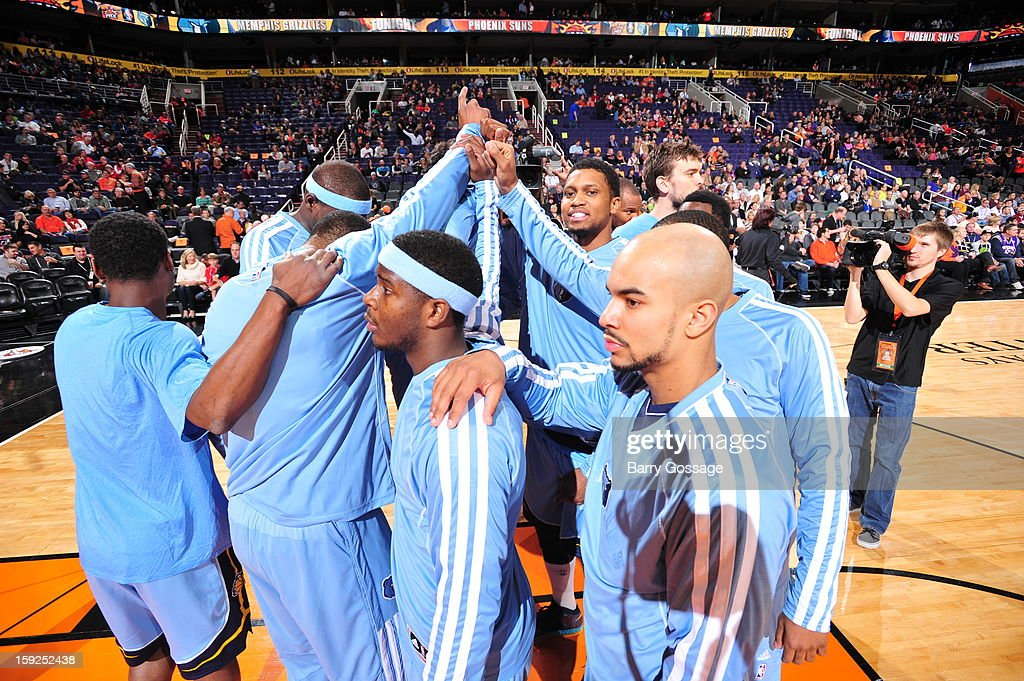 The Denver Nuggets huddle up before the game against the Phoenix Suns on January 6, 2013 at U.S. Airways Center in Phoenix, Arizona.