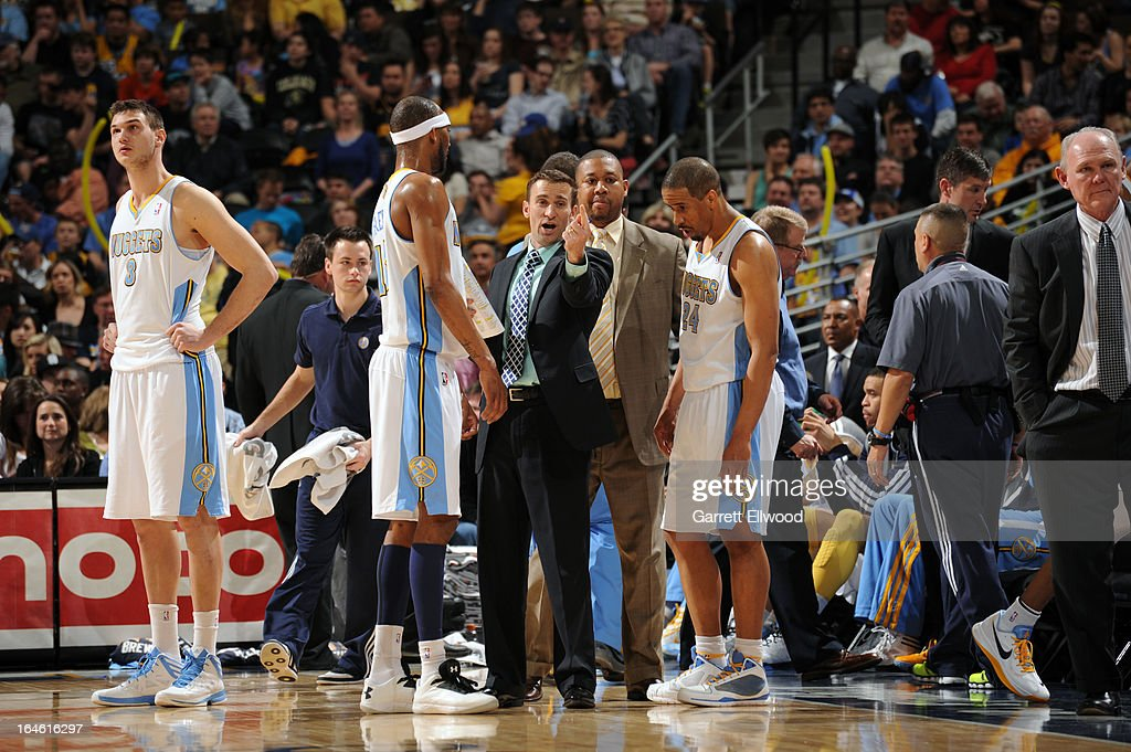 The Denver Nuggets huddle up during the game against the Memphis Grizzlies on March 15, 2013 at the Pepsi Center in Denver, Colorado.