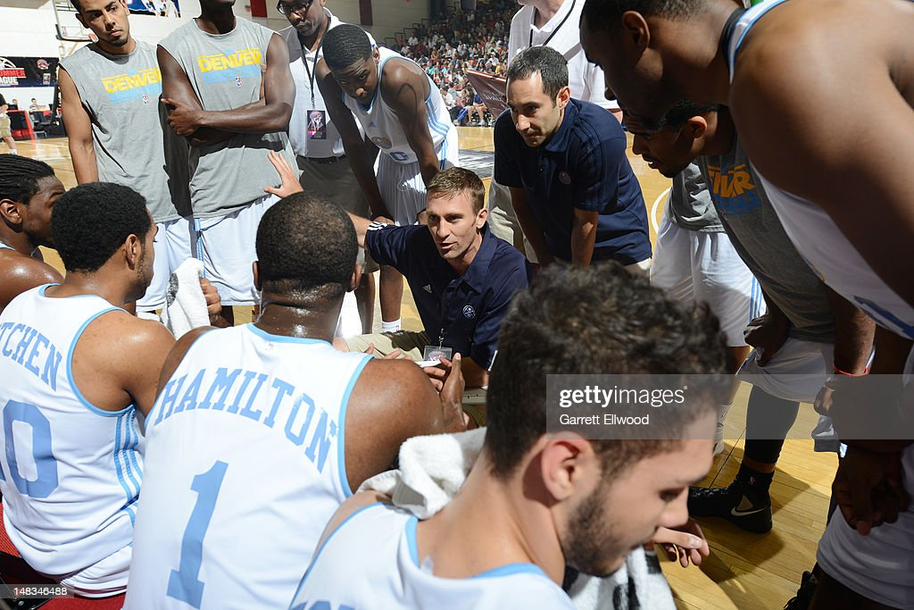 The Denver Nuggets huddle versus the Golden State Warriors during NBA Summer League on July 14, 2012 at Cox Pavilion in Las Vegas, Nevada.
