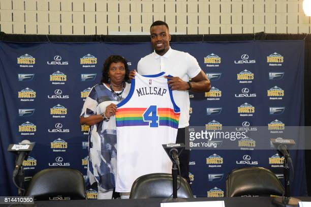 The Denver Nuggets Introduce Paul Millsap during a press conference on July 13 2017 at the Montbello Recreation Center in Denver Colorado NOTE TO...