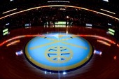 The Denver Nuggets logo before the game against the Oklahoma City Thunder on December 17 2013 at the Pepsi Center in Denver Colorado NOTE TO USER...