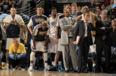 The Denver Nuggets look on from the bench in the final minute against the Oklahoma City Thunder in Game Three of the Western Conference Quarterfinals...