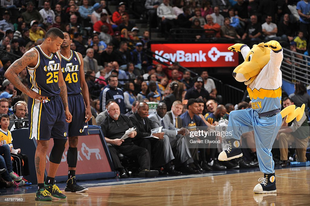 The Denver Nuggets mascot Rocky entertains the crowd during the game against the Utah Jazz on December 13, 2013 at the Pepsi Center in Denver, Colorado.