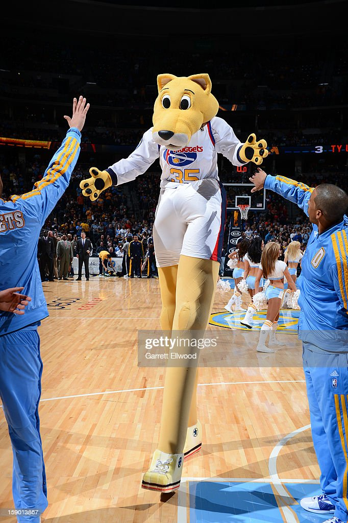The Denver Nuggets mascot, Rocky the Mountain Lion, performs before the game against the Utah Jazz on January 5, 2013 at the Pepsi Center in Denver, Colorado.