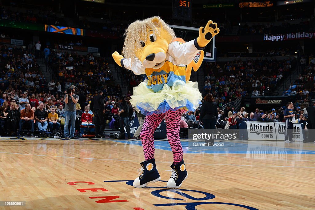 The Denver Nuggets mascot, Rocky the Mountain Lion, performs during the game against the Charlotte Bobcats on December 22, 2012 at the Pepsi Center in Denver, Colorado.