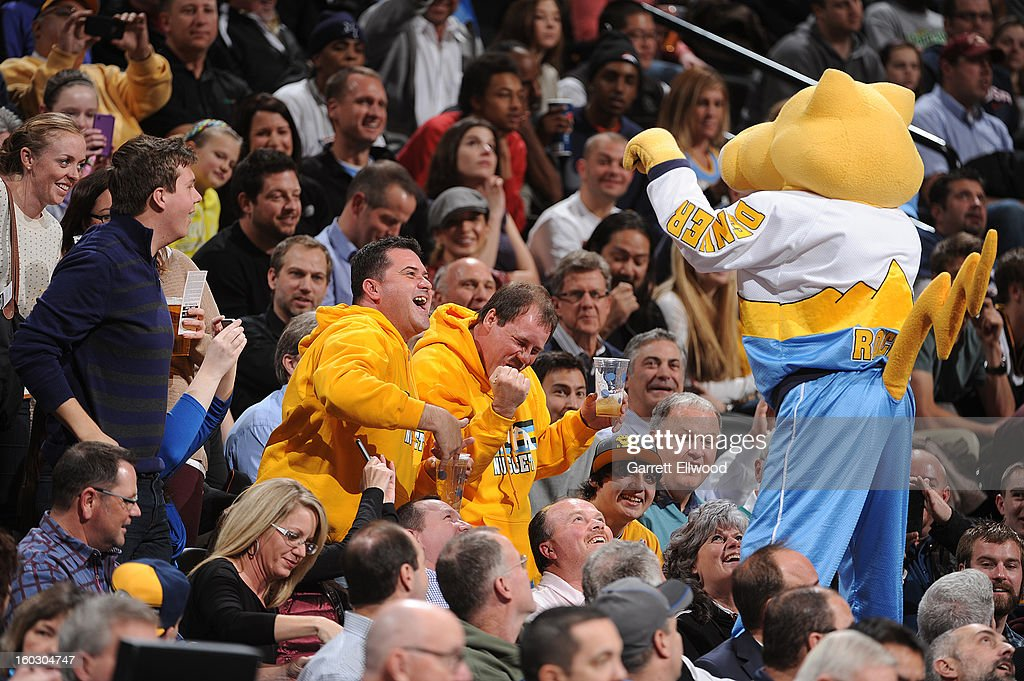 The Denver Nuggets mascot, 'Rocky' the mountain lion, riles up fans during the game against the Indiana Pacers on January 28, 2013 at the Pepsi Center in Denver, Colorado.