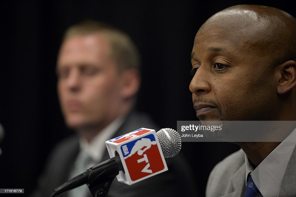 The Denver Nuggets new head coach Brian Shaw addresses the media June 25, 2013 during a press conference at Pepsi Center.