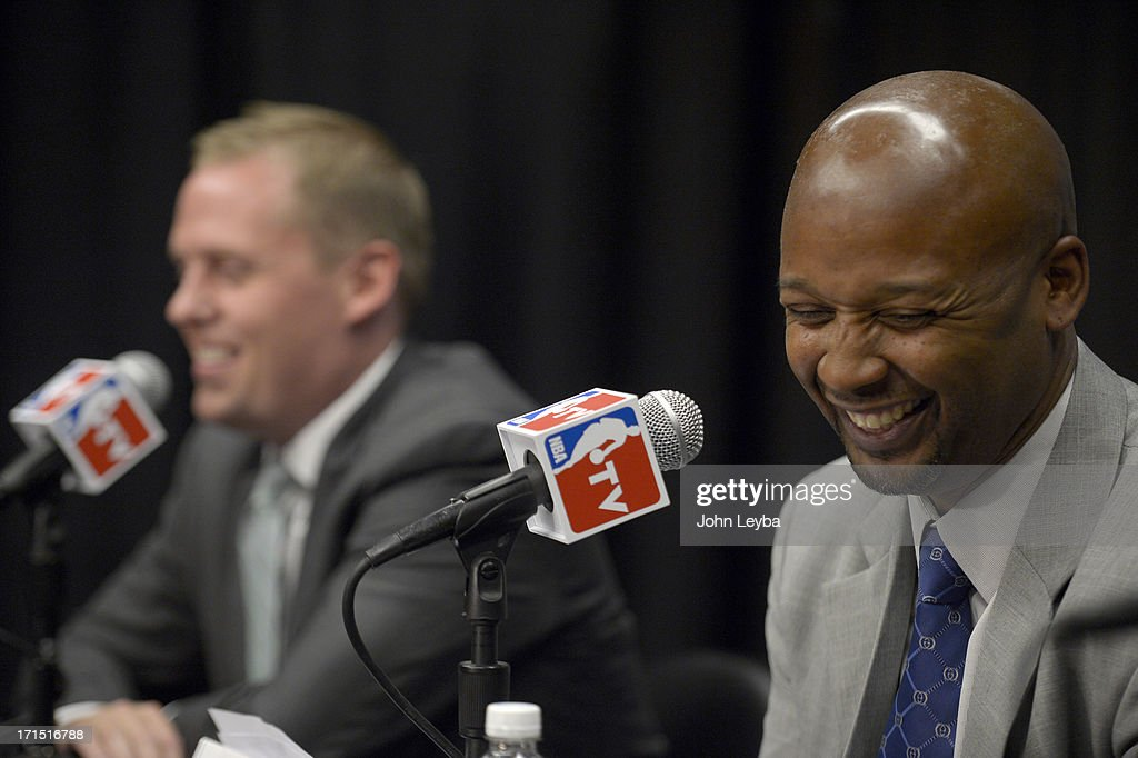 The Denver Nuggets new head coach Brian Shaw smiles June 25, 2013 during a press conference at Pepsi Center.