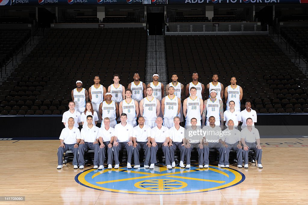 The Denver Nuggets pose for a team photo on March 20, 2012 at the Pepsi Center in Denver, Colorado.