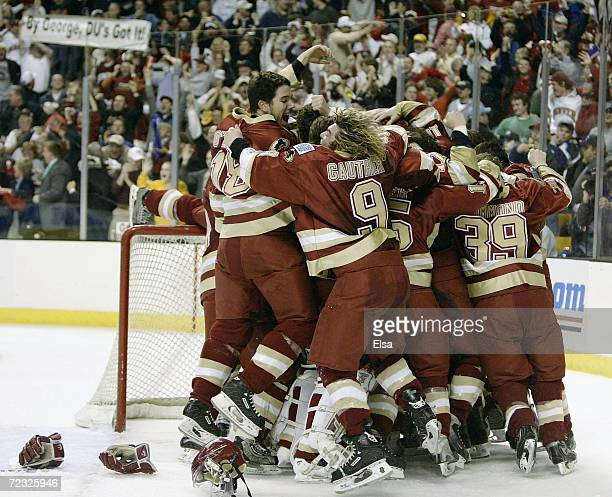 The Denver Pioneers celebrate their win over the Maine Black Bears during the NCAA Frozen Four Championship Game on April 10 2004 at the Fleet Center...