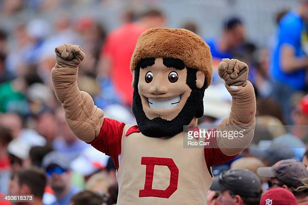 The Denver Pioneers mascot cheers from the stands during the semifinals of the 2014 NCAA Division I Men's Lacrosse Championship between Denver and...