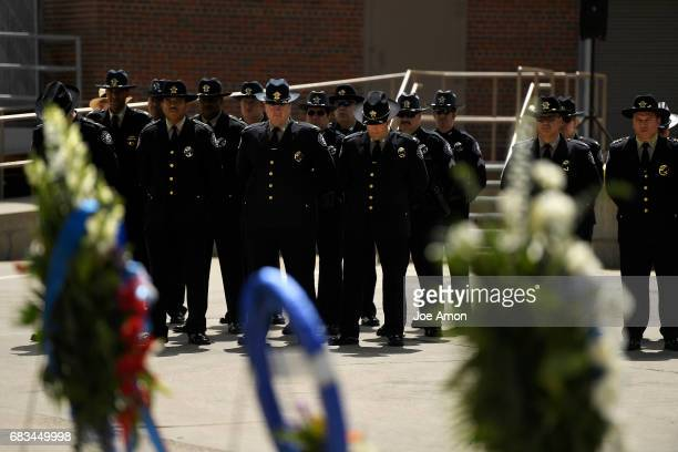 The Denver Sheriff Department memorial ceremony for officers who have died in the line of duty at the Denver County Jail Officers being honored are...