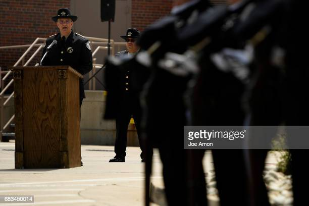 The Denver Sheriff Patrick Firman speaks during the department's memorial ceremony for DSD officers who have died in the line of duty at the Denver...