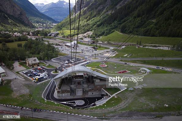 The departing station of the new Skyway cable car that connects the city of Courmayeur to Pointe Helbronner in the Mont Blanc massif