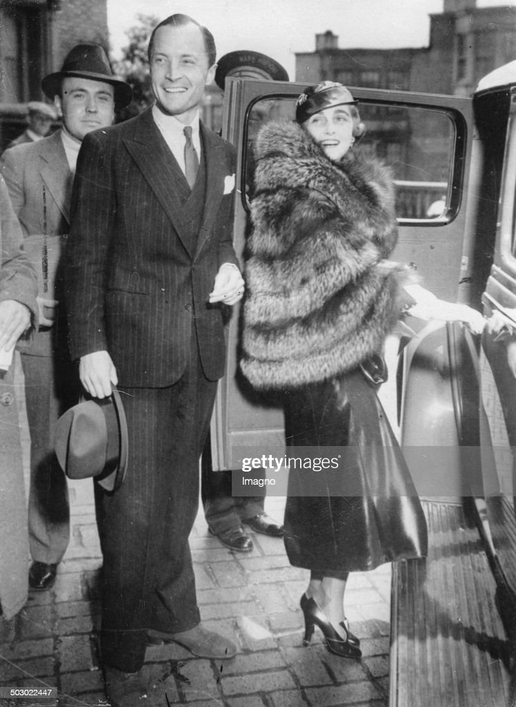 The department store heiress <a gi-track='captionPersonalityLinkClicked' href=/galleries/search?phrase=Barbara+Hutton&family=editorial&specificpeople=930426 ng-click='$event.stopPropagation()'>Barbara Hutton</a> and her husband Kurt of Haugwitz-Hardenberg-Reventlow. Wedding in the United States. 1935. Photograph.