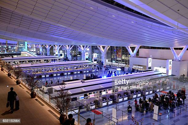 The departure lobby for international terminal is seen at Haneda International Airport on January 30 2017 in Tokyo Japan Two major Japanese airlines...