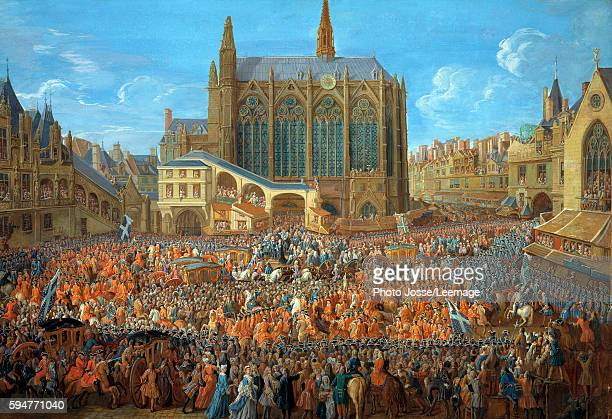 The Departure of Louis XV from SainteChapelle after the 'lit de justice' which ended the reign of Louis XIV 12th September 1715 Painting by Pierre...