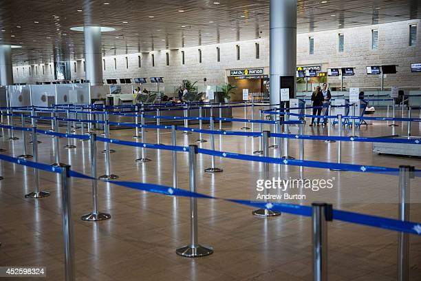 The departures gate sits empty at terminal three at Ben Gurion Airport on July 24 2014 in Tel Aviv Israel The Federal Aviation Administration...
