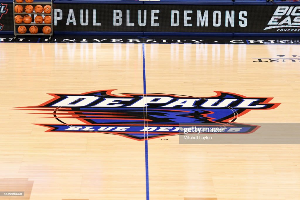 The DePaul Blue Demons logo on the floor during a women's college basketball game against the Xavier Musketeers at Wintrust Arena on January 12, 2018 in Chicago, Illinois. The Blue Demons won 79-48.