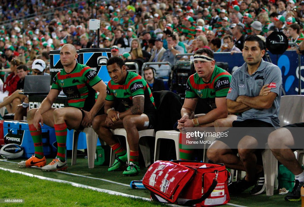 The depleted Souths bench of (L-R) Ben Lowe, Apisai Koroisau and Dave Tyrrell during the round seven NRL match between the South Sydney Rabbitohs and the Canterbury-Bankstown Bulldogs at ANZ Stadium on April 18, 2014 in Sydney, Australia.