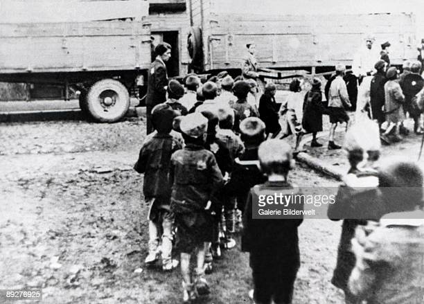 The deportation of children from Lodz Ghetto in Poland to the Chelmno extermination camp September 1942