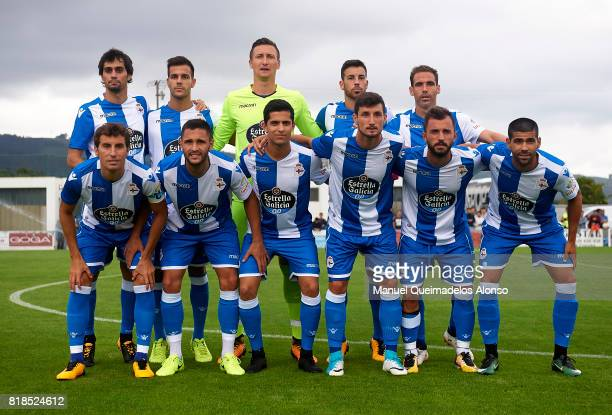 The Deportivo de La Coruna team line up for a photo prior to kick off during the preseason friendly match between Cerceda and Deportivo de La Coruna...