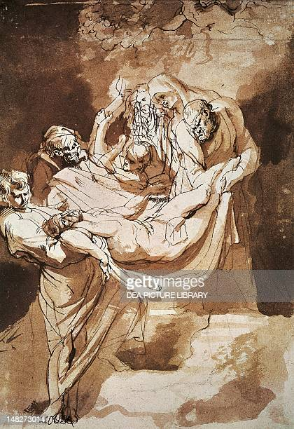 The deposition of Christ in the tomb by Peter Paul Rubens ink watercolor on paper 22x15 cm Amsterdam Rijksmuseum