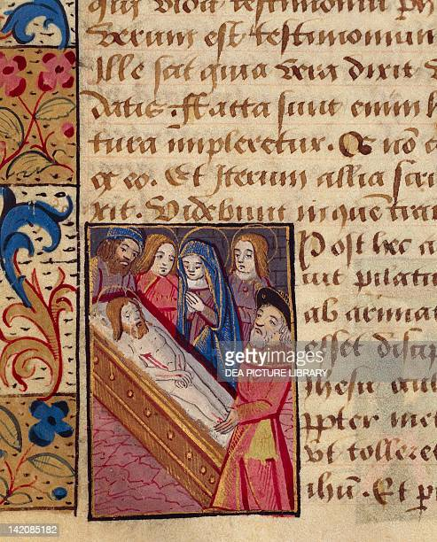 The deposition of Christ in the tomb miniature from the Book of Hours Latin and French manuscript illustrated by a student of Robinet Testard...