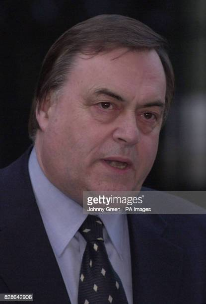 The Deputy Prime Minister John Prescott speaks to the press following the Leader of the House of Commons Robin Cook's letter of resignation outside...