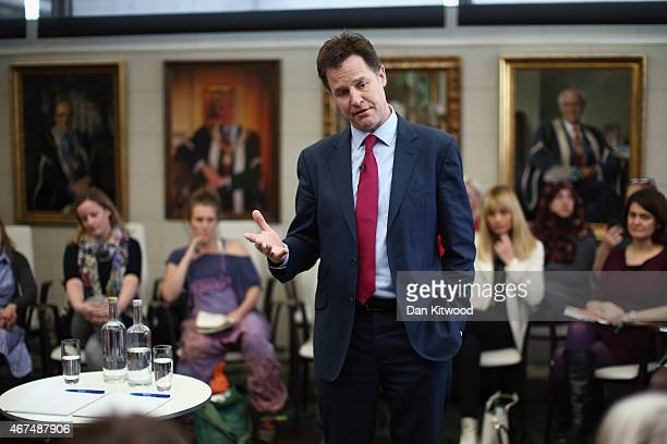 The Deputy Prime Minister Nick Clegg participates in a QA session with a group of women from the internet forum 'Mumsnet' on March 25 2015 in London...