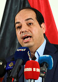 The Deputy Prime Minister of the Government of National Accord Ahmed Maiteeq speaks during a press conference in Tripoli on July 23 2016 / AFP /...