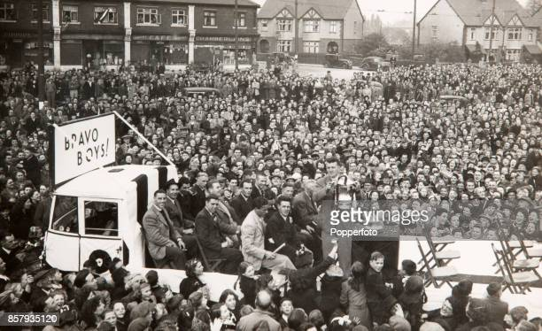 The Derby County football team parade with the FA Cup riding on the back of a lorry through the city amidst crowds of supporters the day after their...