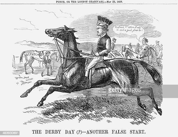 'The Derby Day Another False Start' 1858 This cartoon shows Palmerston in the background dismounted from his horse 'Despatch' having been despatched...