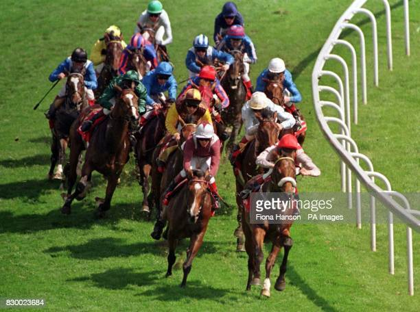 The Derby field at Tattenham Corner the winner High Rise is second from left towards the back of the field jockey Olivier Peslier wearing yellow with...