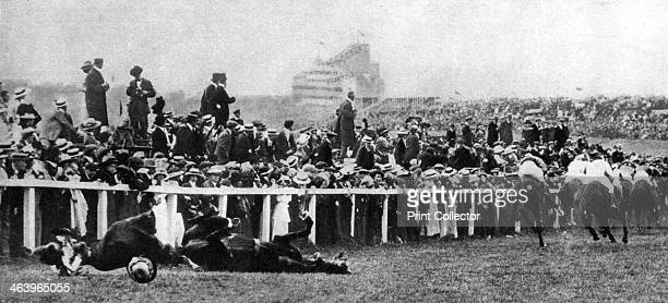 The Derby tragedy of 1913 Emily Davison a suffragette threw herself in front of the King's horse 'Anmer' and was killed A print from King Emperor's...