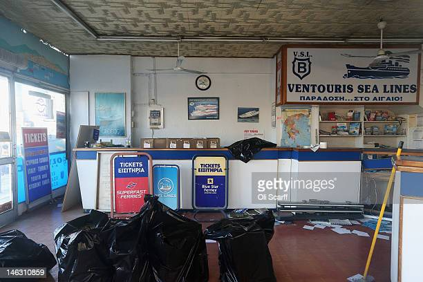 The derelict office of a travel agent which has ceased trading in Piraeus the Port of Athens on June 14 2012 in Athens Greece The Greek electorate...