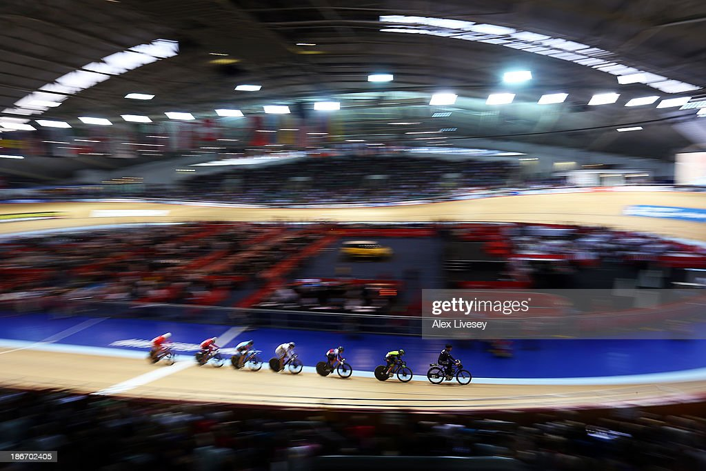 The derny paces the riders up to speed in Women's Keirin on day three of the UCI Track Cycling World Cup at Manchester Velodrome on November 3, 2013 in Manchester, England.