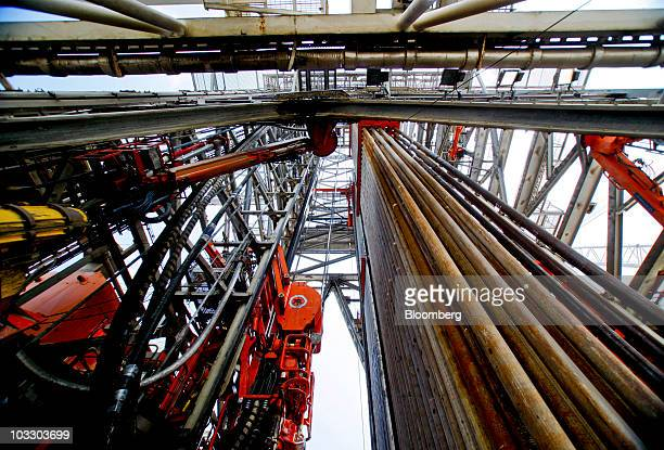 The derrick rises from the floor of the Transocean Ltd Development Driller II rig which is drilling a relief well at the BP Plc Macondo site in the...