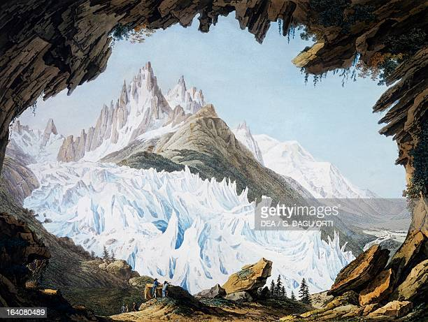 The Des Bois glacier and the needle of Charmoz Mont Blanc in Chamonix engraving from a watercolour by JeanAntoine Linck France 19th century Geneva...