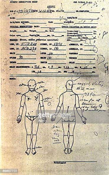 The description sheet from the autopsy performed on assassinated US President John F Kennedy at Bethesda Naval Hospital in Bethesda Maryland 22nd...