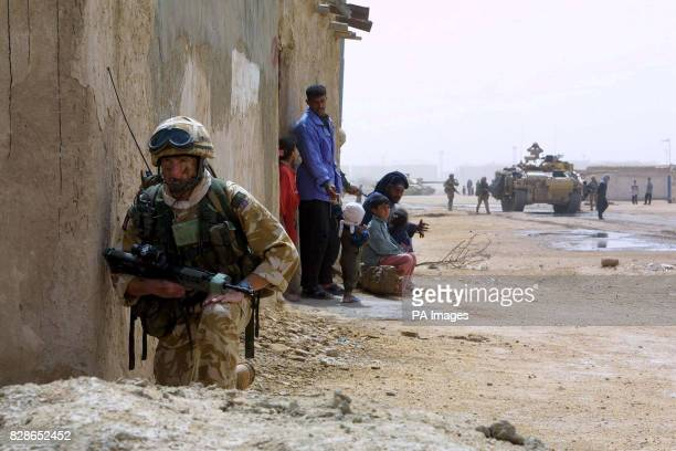 The Desert Rats enter the Iraqi city of Basra bringing humanitarian relief to the settlement of Imam Anas a settlement south of the city