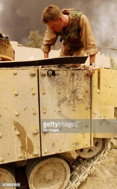 The Desert Rats with a warior from 2 company that took a hit from an RPG in Basra southern iraq