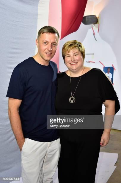 The designer Cedric Charlier and Karen Kendrick attend Cedric Charlier X Fruit Of The Loom Presentation on June 21 2017 in Paris France