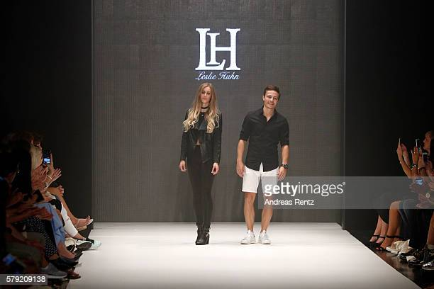 The designer on the runway for Leslie Huhn as part of the Fashionyard show during Platform Fashion July 2016 at Areal Boehler on July 23 2016 in...