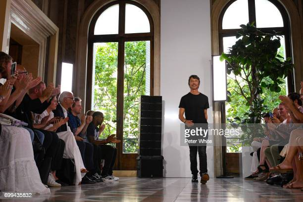 The designer Pierpaolo Piccioli walks the runway during the Valentino Menswear Spring/Summer 2018 show as part of Paris Fashion Week on June 21 2017...