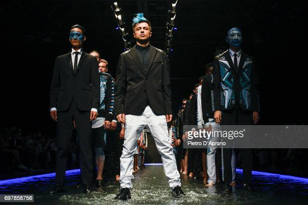 The designer walks the runway at the Frankie Morello show during Milan Men's Fashion Week Spring/Summer 2018 on June 19 2017 in Milan Italy