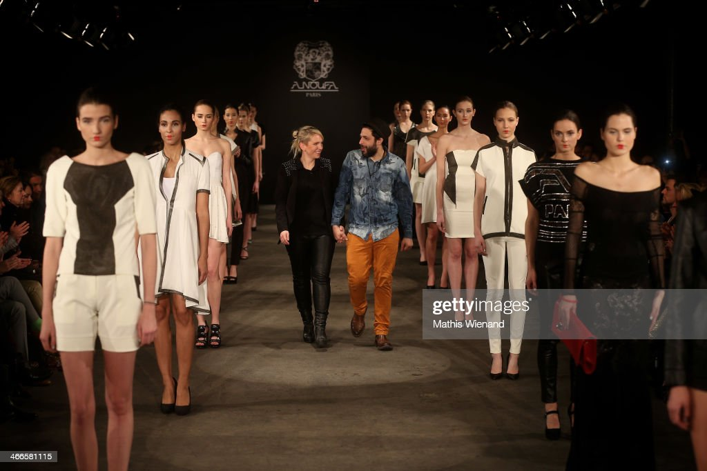 The designer walks the runway at the Maison Anoufa fashion show during Platform Fashion Dusseldorf on February 2, 2014 in Dusseldorf, Germany.