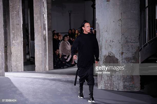 The Designer walks the runway during the Rick Owens show as part of the Paris Fashion Week Womenswear Fall/Winter 2016/2017 on March 3 2016 in Paris...